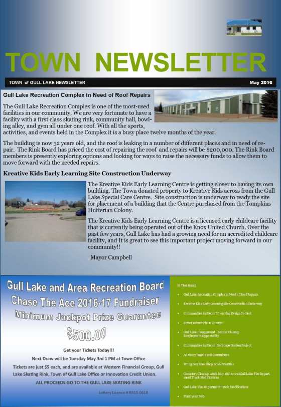 Town May 2016 Newsletter Education GULL LAKE Town Beautification  Wong Guy Shoe Shop Newsletter Kreative Kidz Early Learning Center Gull Lake Recreation Complex Gull Lake Heritage Committee Gull Lake Fire Department Gull Lake Cemetery Committee Gull Lake Campground Community Communities in Bloom