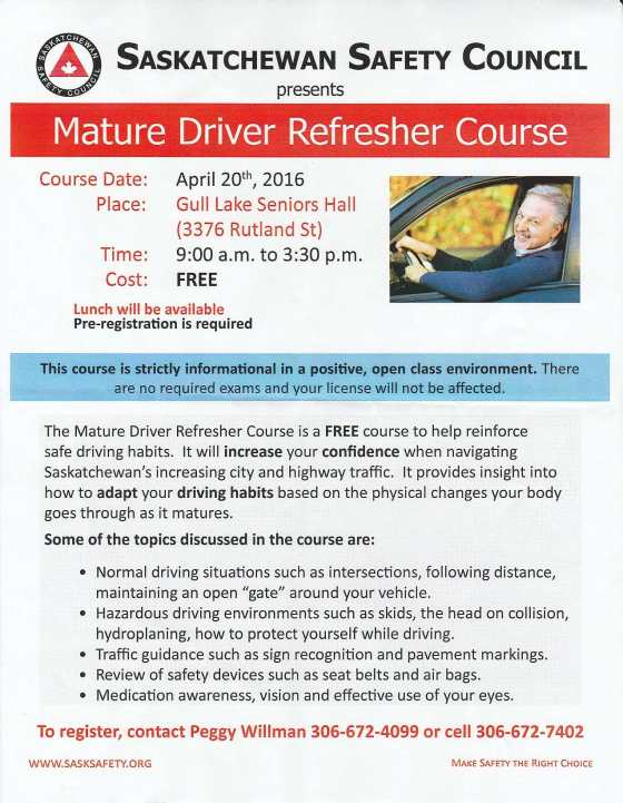 Mature Driver Refresher Course GULL LAKE  Community