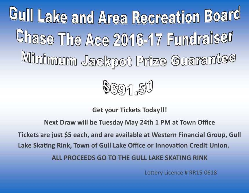 Tim Hodgins Wins this Weeks Chase the Ace Draw GULL LAKE  Gull Lake Recreation Complex