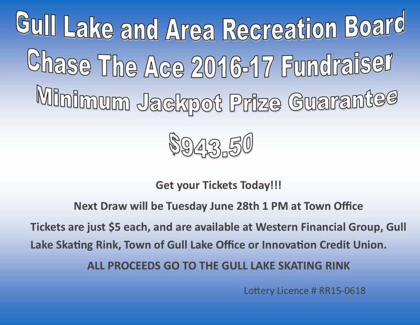 Taylor Dutton Wins this Weeks Chase the Ace Draw GULL LAKE  Gull Lake Recreation Complex