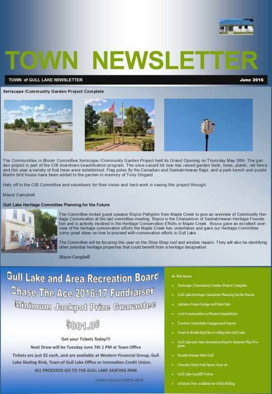 June Town Newsletter Government GULL LAKE Health & Wellness Tourism Town Beautification  Mayor's Report Heritage Committee Gull Lake Recreation Complex Crescent Point Pool Community Communities in Bloom