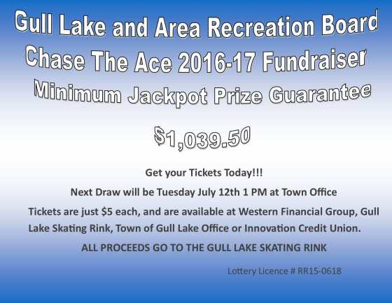 Richie Bleau Wins this Weeks Chase the Ace Draw GULL LAKE  Gull Lake Recreation Complex