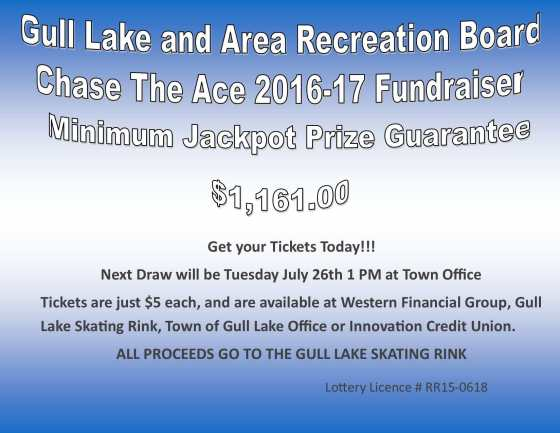 Les Potter Wins this Weeks Chase the Ace Draw GULL LAKE  Gull Lake Recreation Complex