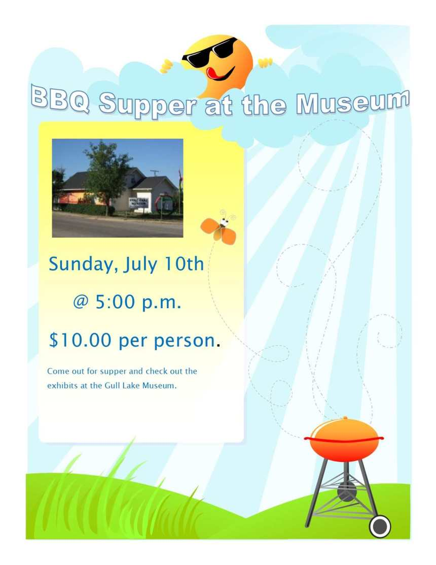 BBQ Supper at the Gull Lake Museum GULL LAKE  Gull Lake Museum Events