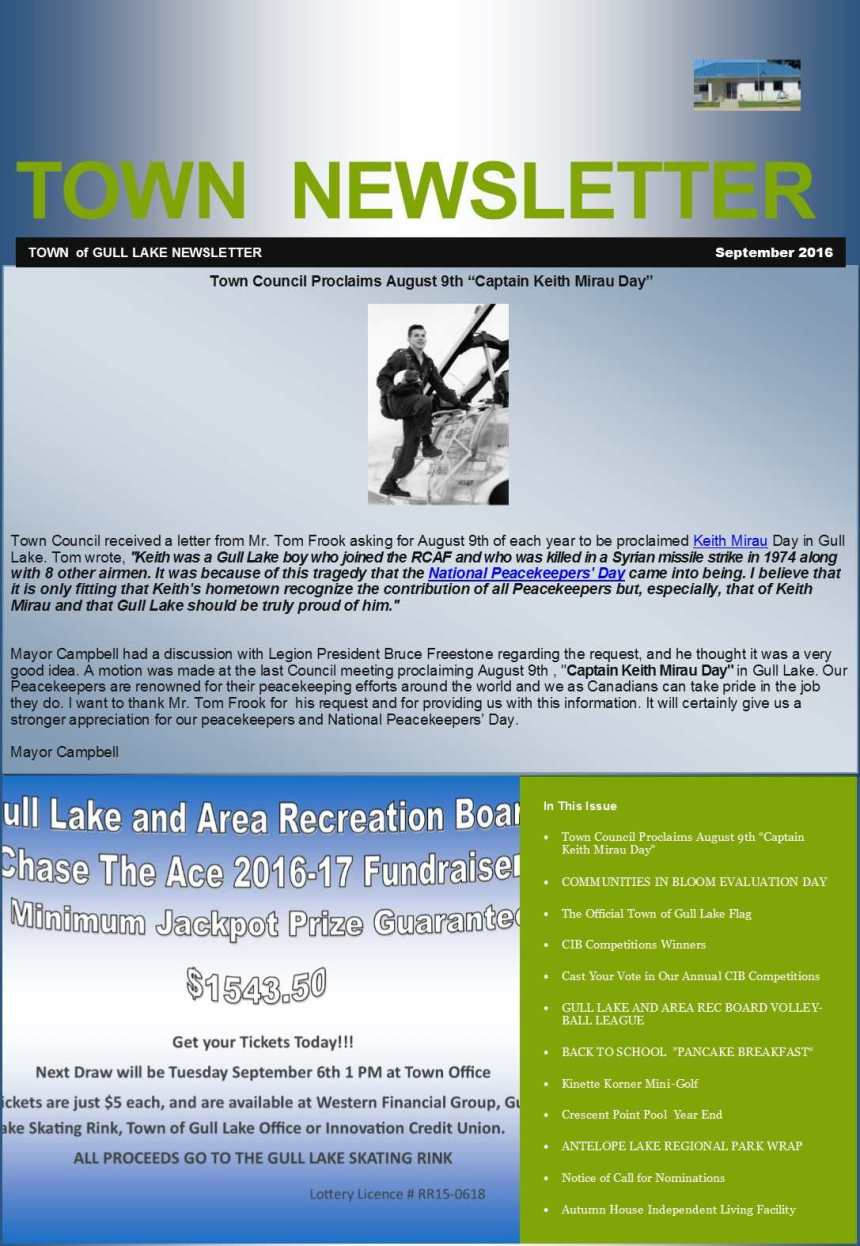 September Town Newsletter GULL LAKE Health & Wellness  Town Council Newsletter Mayor's Report Gull Lake School Gull Lake Recreation Complex