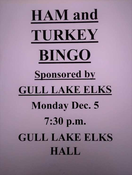 GULL LAKE ELKS HAM AND TURKEY BINGO GULL LAKE  Events Community