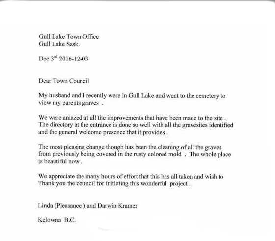 Dear Town Council Government GULL LAKE  Town Council Mayor's Report Community Cemetery Committee Cemetery