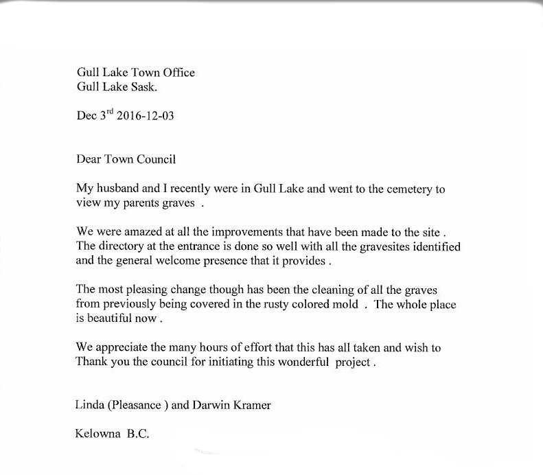 Dear Town Council Government GULL LAKE  Town Council Mayor's Report Cemetery Committee Cemetery
