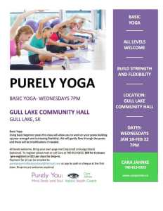 PURELY YOGA AT THE GULL LAKE COMMUNITY HALL