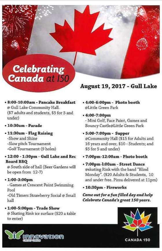 Come to Gull Lake on Saturday, August 19th, 2017 and Celebrate Canada's 150th Birthday With Us Business GULL LAKE SouthWest Saskatchewan Tourism  Events Community