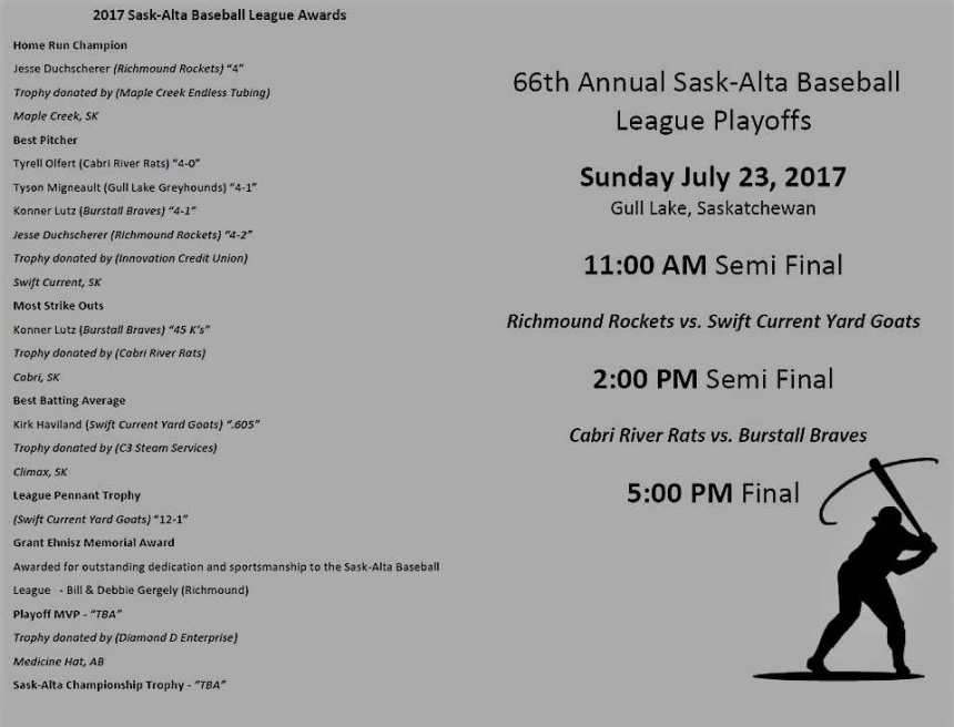 The 66th Sask-Alta Baseball League Playoffs in Gull Lake This Sunday! GULL LAKE SouthWest Saskatchewan Tourism  Green Power Ball Diamonds Events