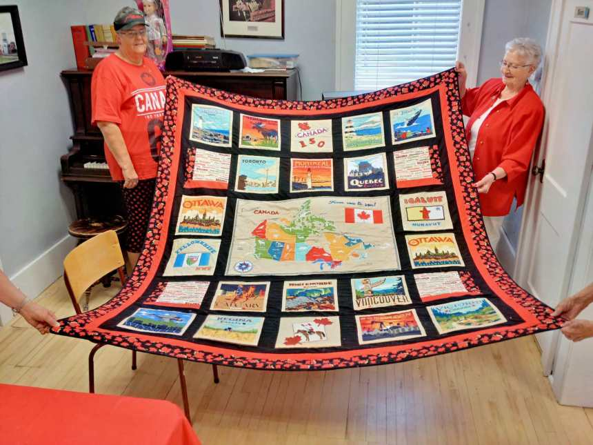 Special Hand Made Canada Quilt Displayed at the Gull Lake Seniors Canada Day Coffee And Goodies Event GULL LAKE  Events