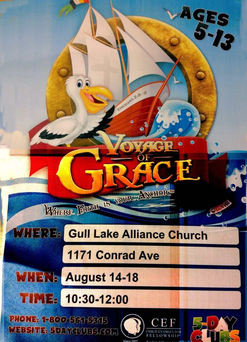 5 Day Club for Kids Ages 5 to 13 at the Gull Lake Alliance Church Education GULL LAKE  Gull Lake Alliance Church