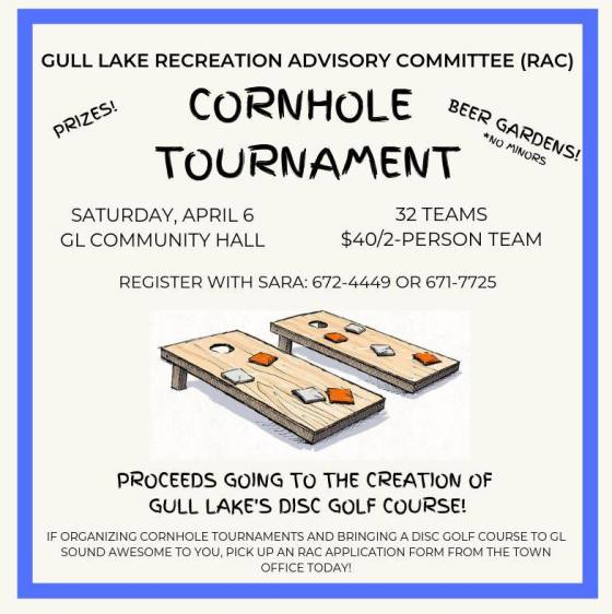 Gull Lake Recreation Advisory Committee Cornhole Tournament GULL LAKE  Recreation Advisory Committee Events