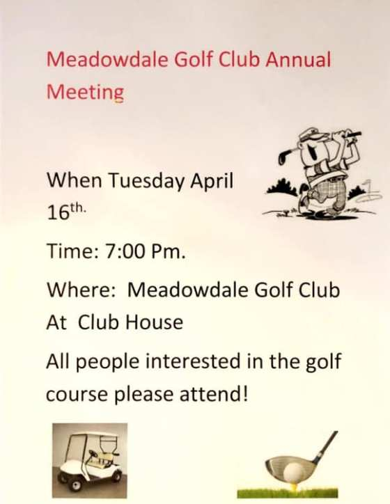 Meadowdale Golf Club Annual Meeting GULL LAKE  Meadowdale Golf Course