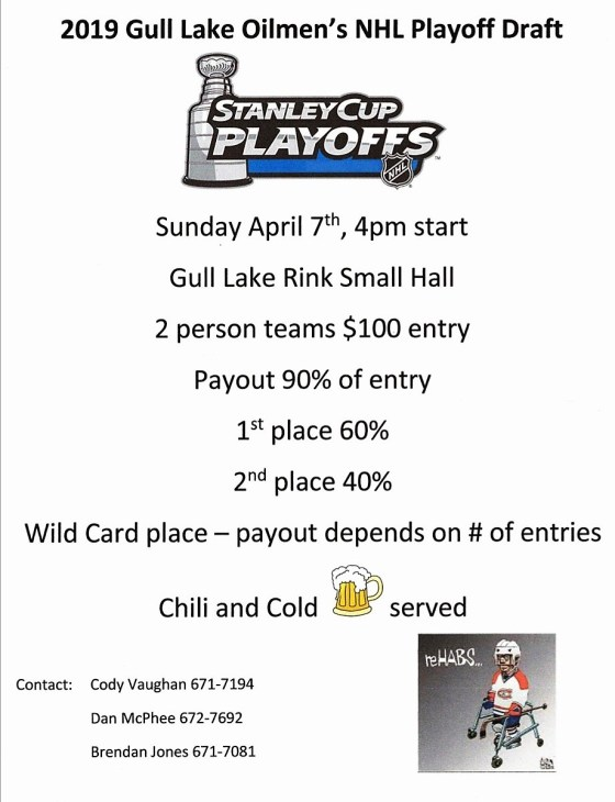 2019 Gull Lake Oilmen's NHL Playoff Draft Business GULL LAKE SouthWest Saskatchewan  Gull Lake Recreation Complex Events