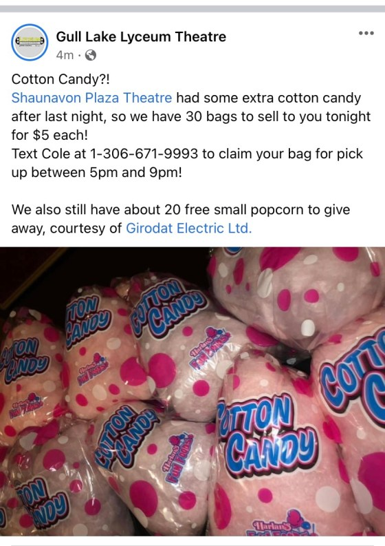 Cotton Candy For Sale at the Theatre Business GULL LAKE SouthWest Saskatchewan  Saskatchewan Gull Lake Lyceum Theatre Community