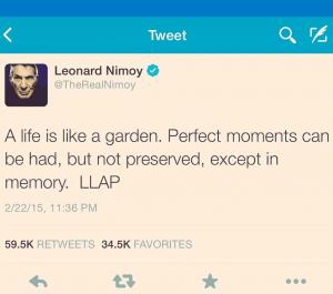 leonard nimoy's last tweet