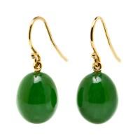 Gump's Green Nephrite Jade Drop Earrings   Gump's