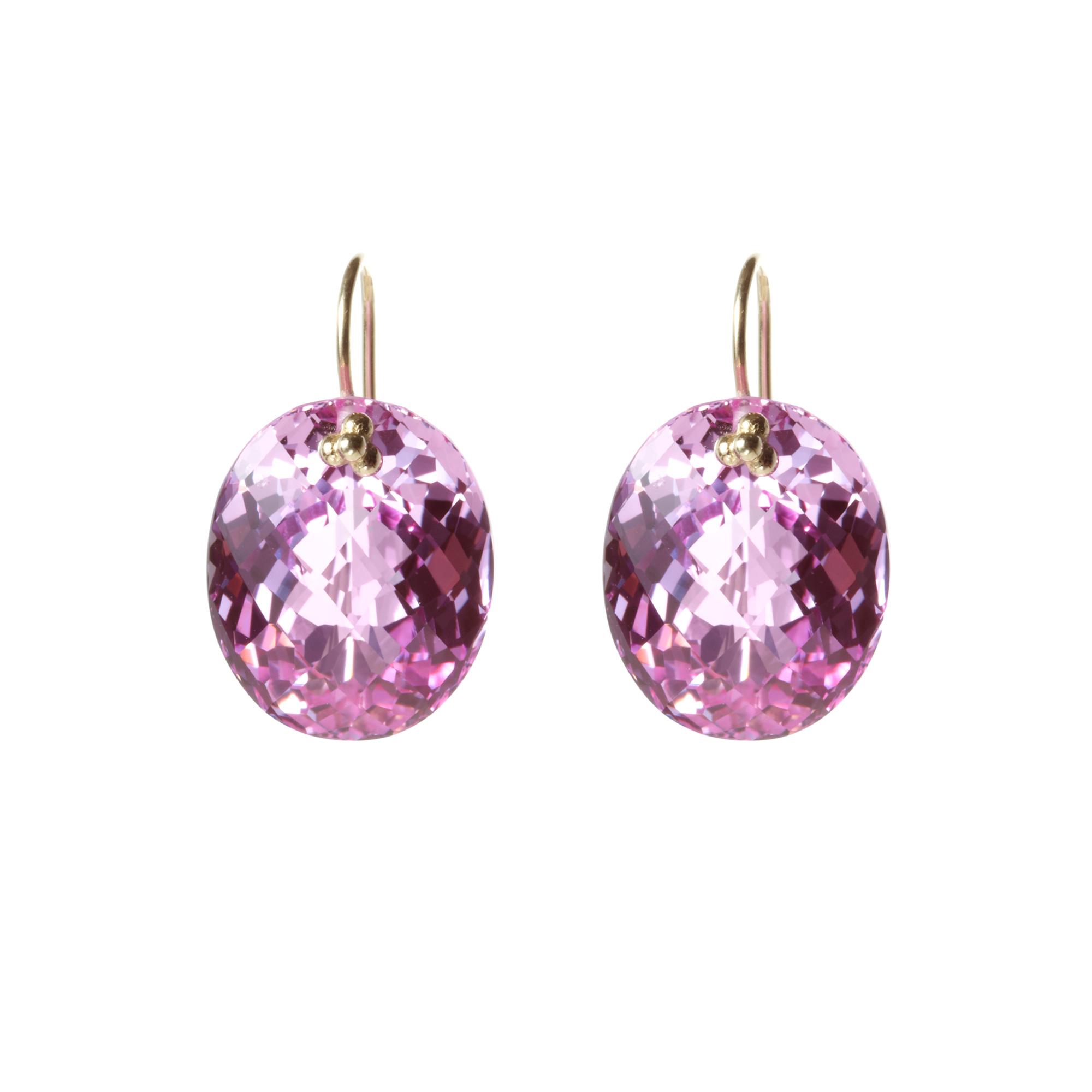 Nikki Baker Pink Topaz Oval Drop Earrings