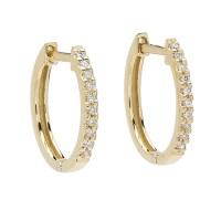 Elizabeth Showers Gold & Diamond Huggie Hoop Earrings | Gump's