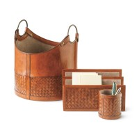 Woven Leather Desk Accessories | Gump's