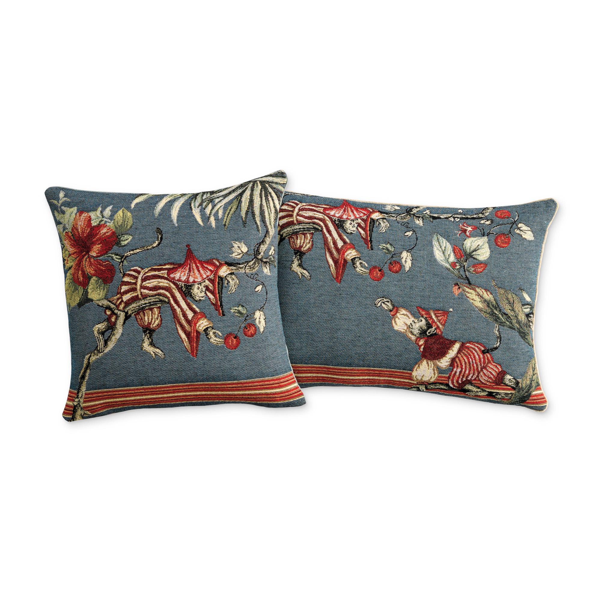 Chinoiserie Monkey Pillows Blue  Gumps