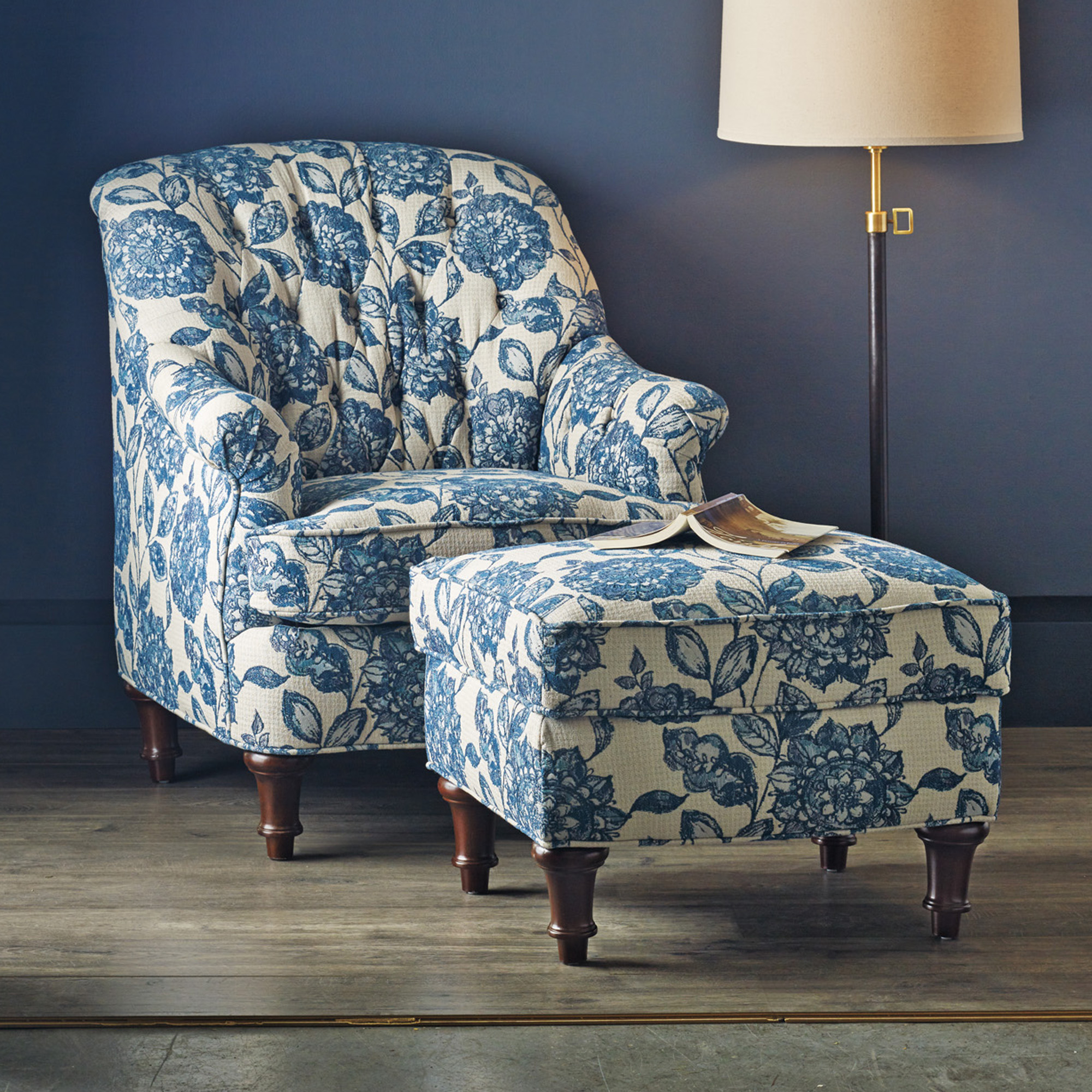 blue floral chair lightweight beach chairs uk kendall and ottoman gump 39s