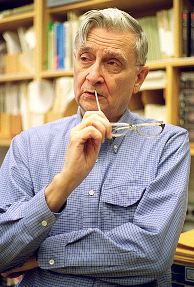 Edward O. Wilson, Harvard's Pelegrino University Research Professor and Curator in Entomology in the Museum of Comparative Zoology inside his office, Tuesday, December 17, 2002. Staff Photo Justin Ide/Harvard University News Office