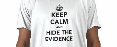 crop of slogan shirt 'keep calm and hide the evidence'