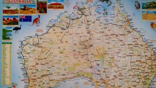 Karte erste Etappe Australien Darwin Perth