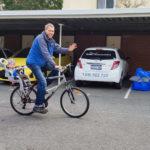 Probefahrt mit dem neuen Fahrrad samt Kindersatz
