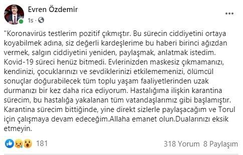 Torul Belediye Başkanı Özdemir Covid-19 olduğunu duyurdu