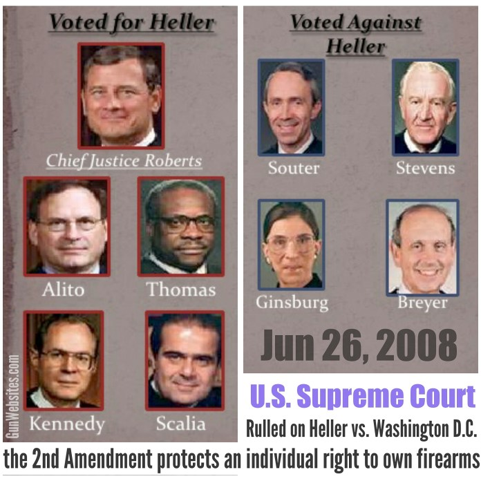 Image result for images of supreme court justices in the heller