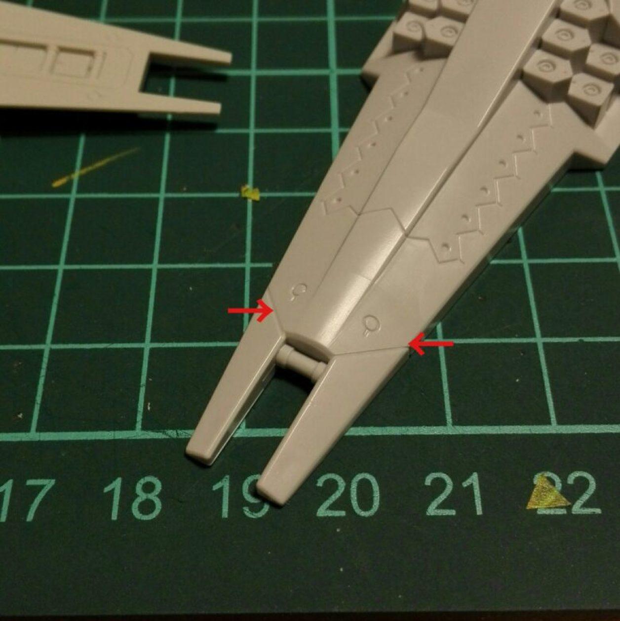 1/144スケールのガンプラのプリムローズの拡張パーツであるアドバンスド・ヘイズルの強化型シールド・ブースターのディテールアップと制作画像