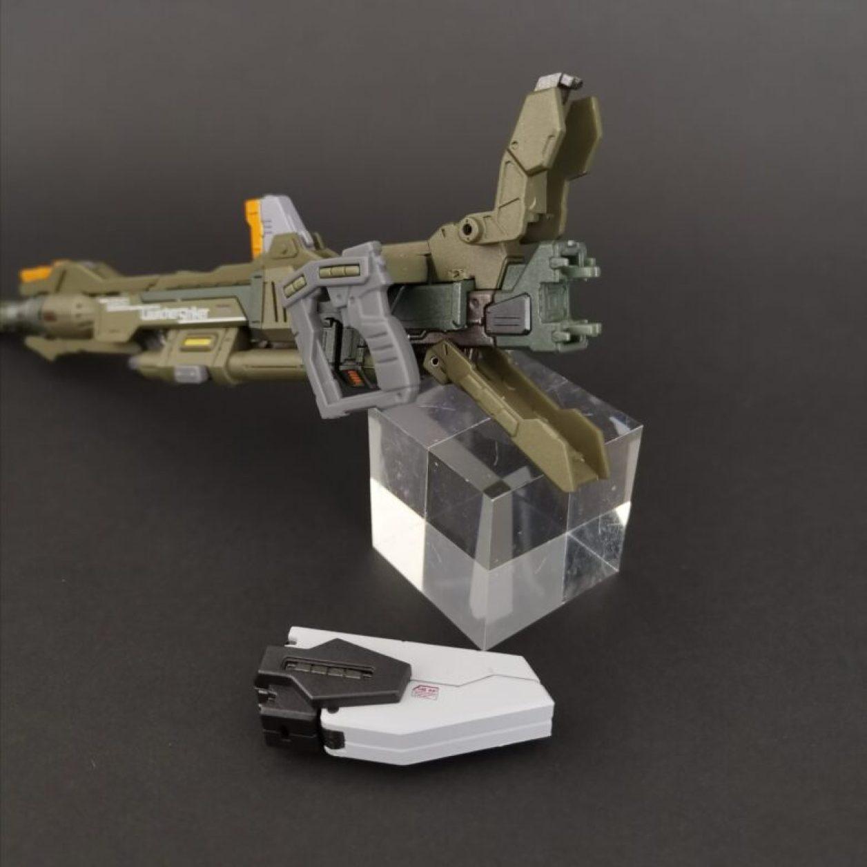 METALBUILD (メタルビルド)のランチャーストライカー付属品の320mm超高インパルス砲(アグニ)のバッテリーパックの脱着ギミックの画像