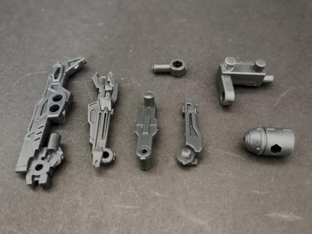 mobile suit ensemble (モビルスーツアンサンブル)18弾のMS武器セットのガナーウィザードの組立て方法を説明した画像