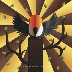 Menggambar burung tukan gaya artdeco