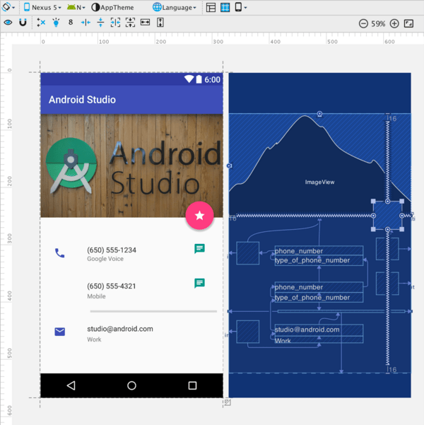 New constraint layout with design and blue print view