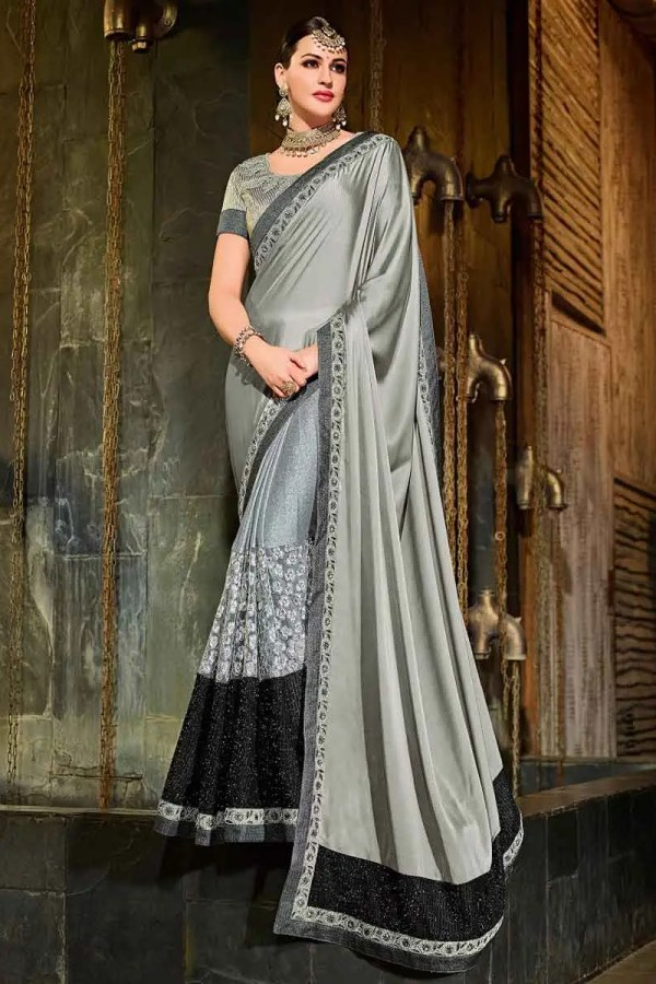 Indian Women grey and black color georgette and lycra Saree 30209