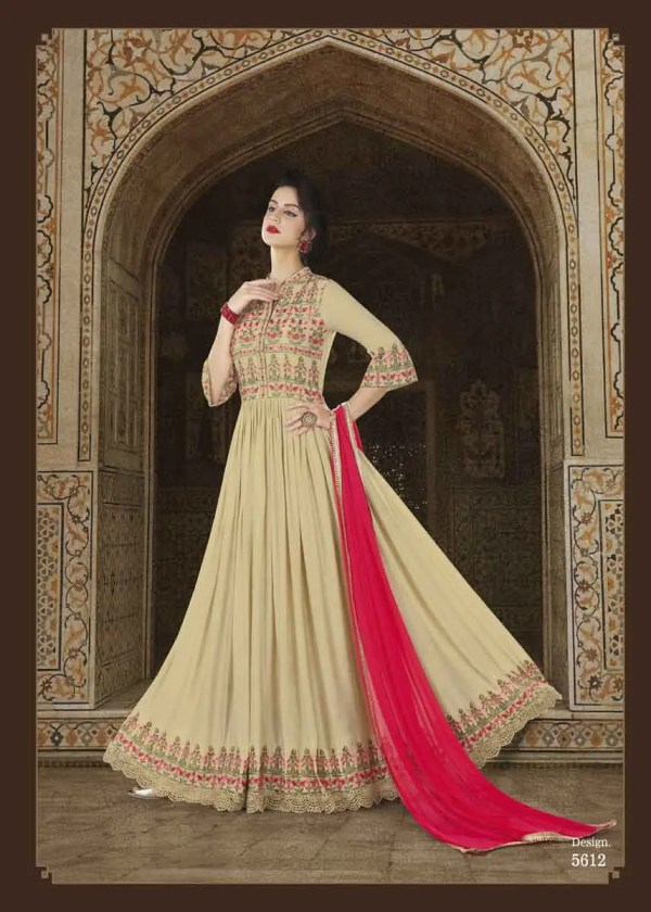 Fanciful Beige Color Modal Slub Satin Fabric Embroidered Floor Length Anarkali Suit 5612