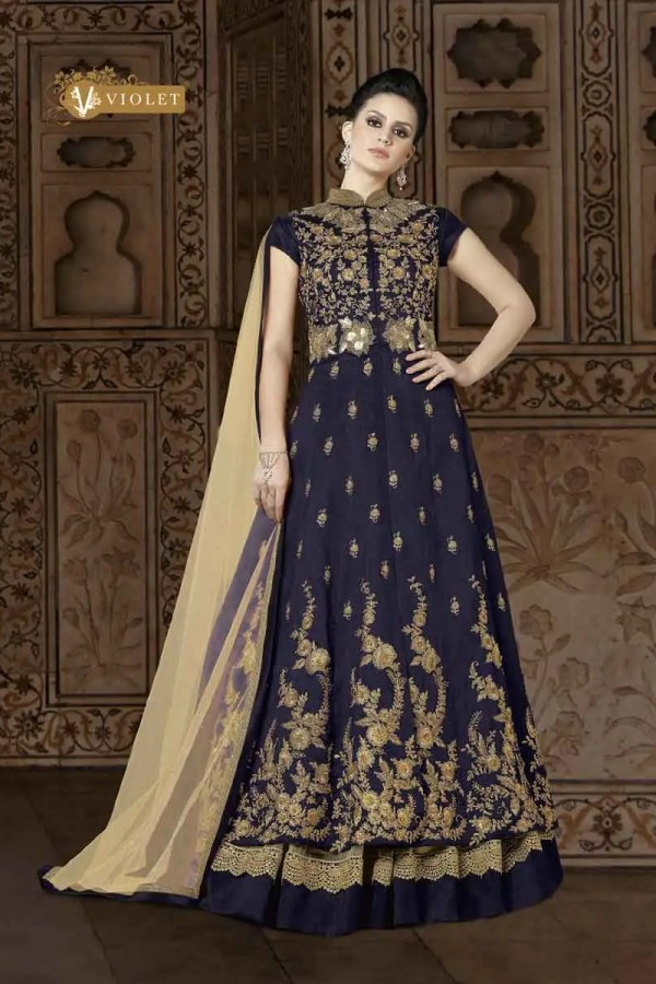 Designer Purple Color Phantom Silk Anarkali Suit 5401 A