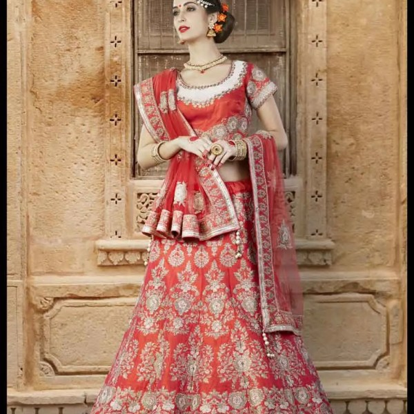 Bridal Wear Red Color Heavy Work Lehenga Choli N-116
