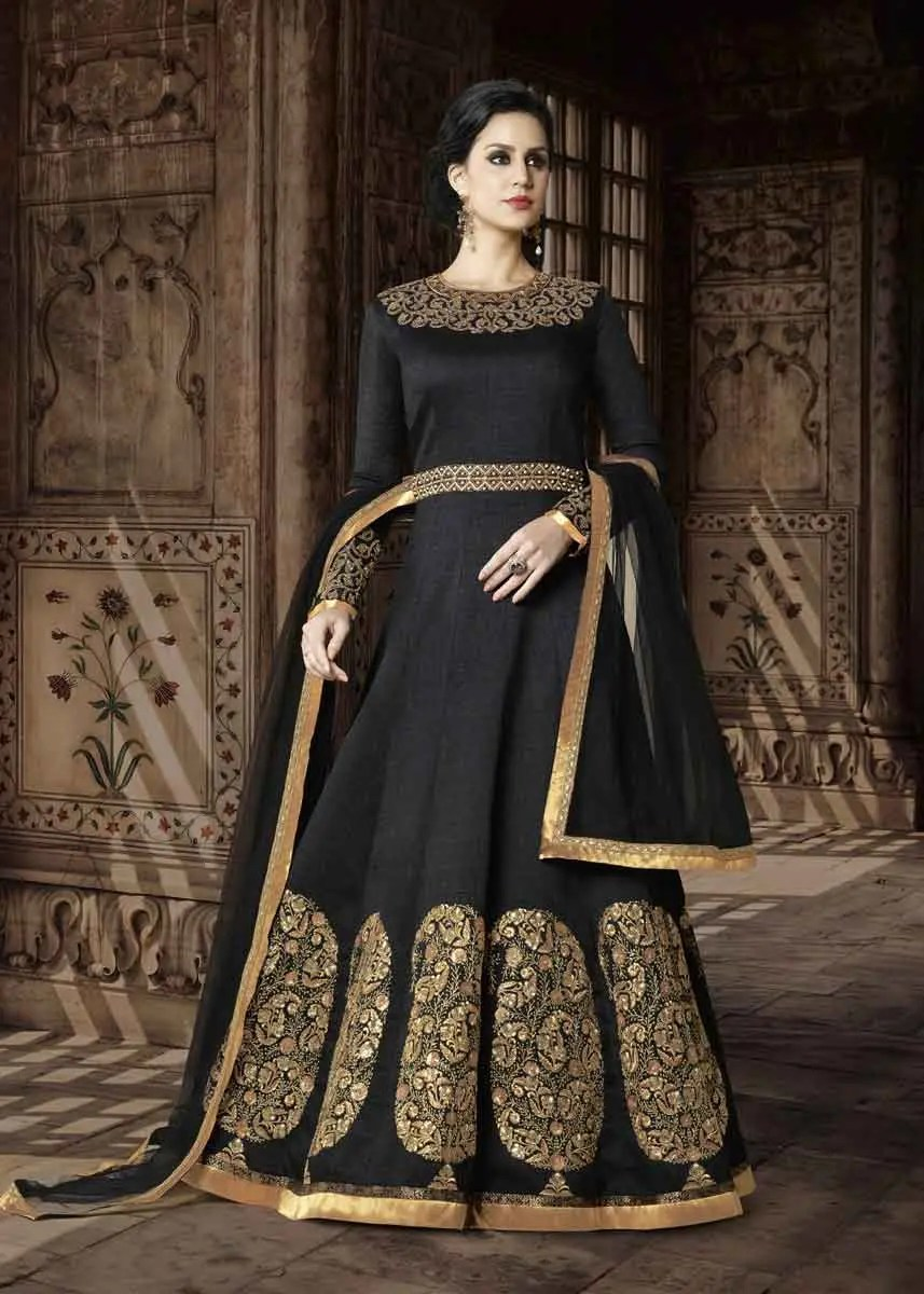 5d9a8d79b0 Black Color Heavy Embrodered Phantom Silk Floor Length Anarkali Suit 5409