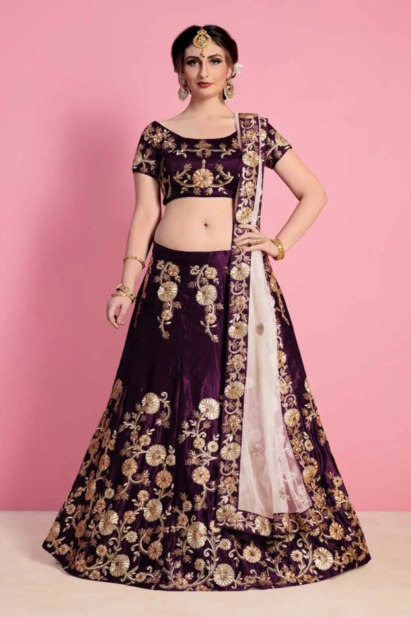 Excellent Purple Colored Designer Embroidered Velvet Silk Lehenga choli 743