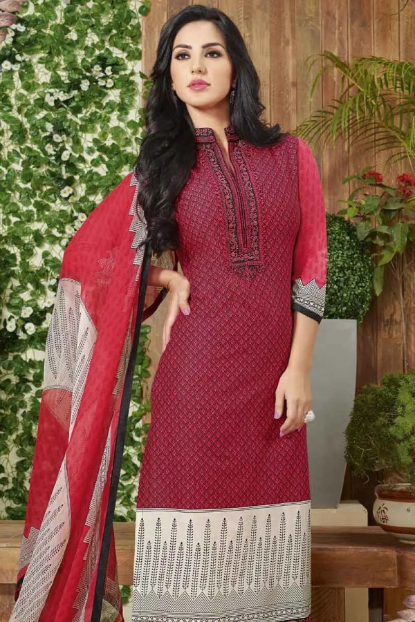 Hot Maroon Color Cotton Lawn Printed Daily Wear Salwar Kameez 3512 A