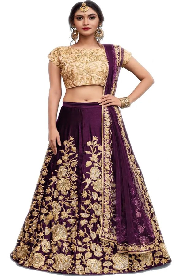 Amazing Purple Color Dori Work Velvet Silk Lehenga AD752