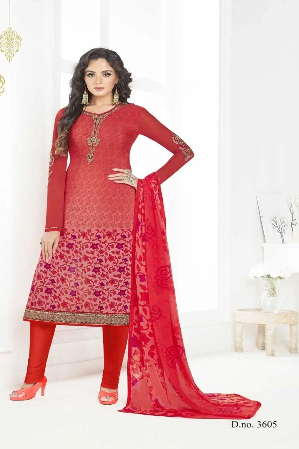 Hot Red Color French Crape Printed Dialy Wear Salwar Kameez 3605