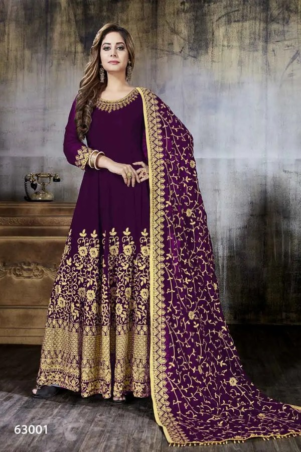 Exclusive Purple Color Heavy embroidery Faux Georgette Anarkali Suit-63001