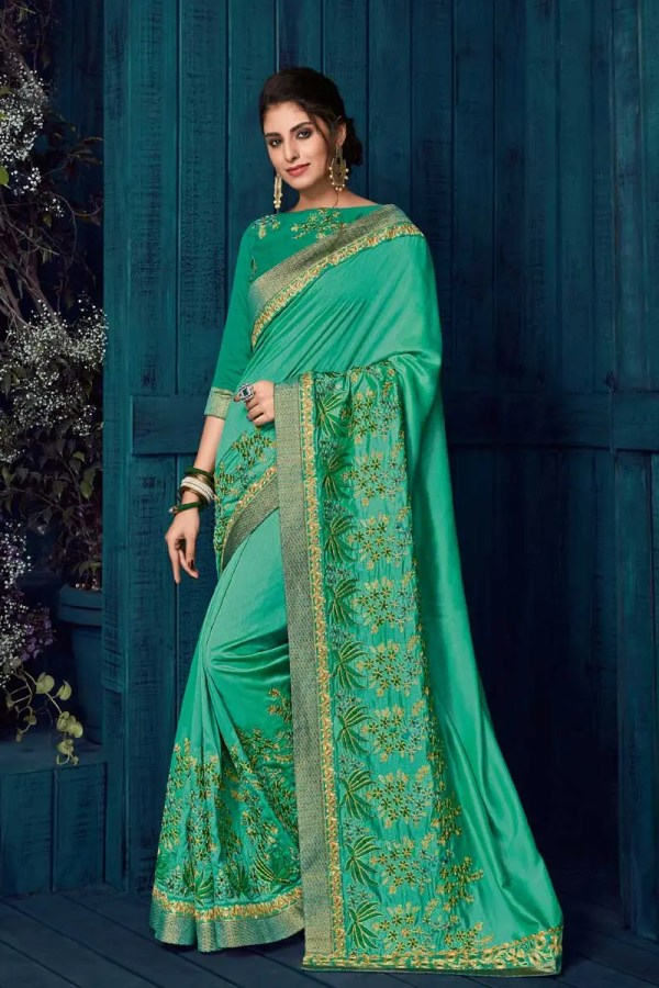 Beautiful Green Color Embroidered Silk Saree-30406